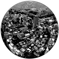 Tokyo.  Cutout Mat Board. 31 inches diameter . 2020
