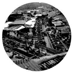 Dhobi Ghat. Cutout Mat Board. 31 inches diameter . 2020