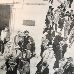 Afternoon at Calle Real. 1948. Ink on paper. 37 x 25 inches. 2021