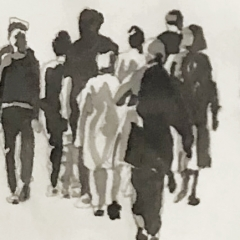 The Walk 2. Ink and pencil on paper. 8 x 54 inches. 2021