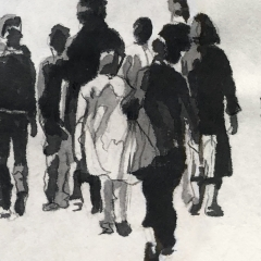 The Walk. Ink and pencil on paper. 8 x 54 inches. 2021